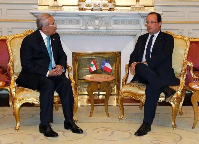 francois-hollande-le-president-libanais-michel-sleimane