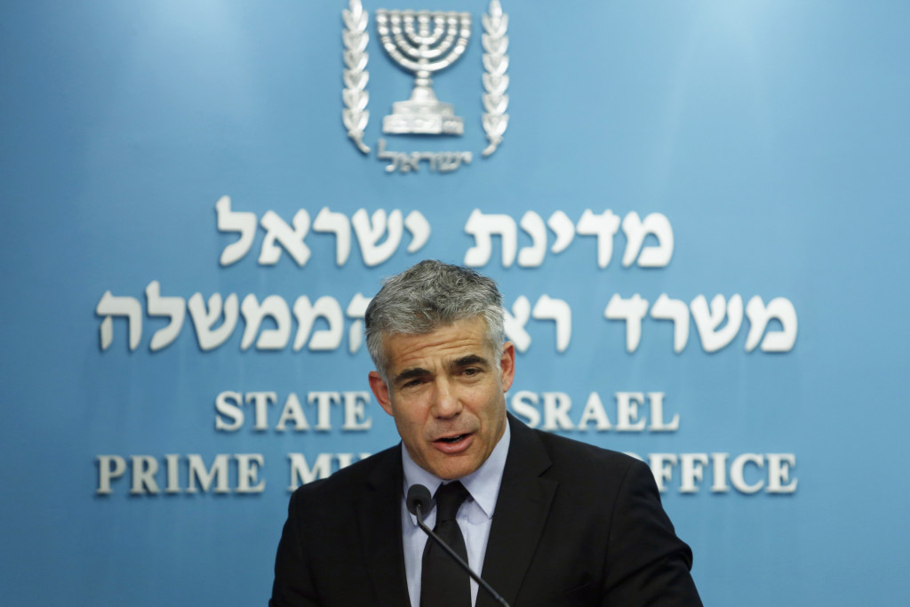 Israel's Finance Minister Lapid during a joint news conference in Jerusalem