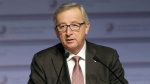 European Commission President Juncker speaks during a news conference in Riga