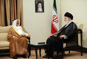 "A handout picture released by the office of Iran's Supreme Leader Ayatollah Ali Khamenei on June 2, 2014 shows him (R) meeting with Emir of Kuwait, Sheikh Sabah al-Ahmad al-Sabah (L) in Tehran. Khamenei warned regional countries of the ""high price"" they would eventually pay for supporting extremist Sunni Muslim groups fighting Tehran's key ally Syria during the meeting. AFP PHOTO/HO/IRANIAN LEADER'S WEBSITE ==== RESTRICTED TO EDITORIAL USE - MANDATORY CREDIT ""AFP PHOTO / IRANIAN LEADER'S WEBSITE"" - NO MARKETING NO ADVERTISING CAMPAIGNS - DISTRIBUTED AS A SERVICE TO CLIENTS ===="